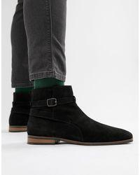 KG by Kurt Geiger Black Kg By Kurt Geiger Euan Zip Suede Jodphur Boots for men