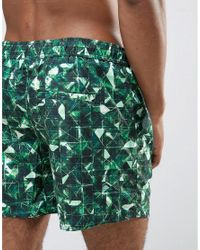 Another Influence - Green Geo Print Swim Shorts for Men - Lyst