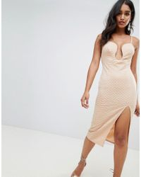 ASOS Natural Deep V Bar Midi Bodycon Dress With Thigh Split In Rib Jersey