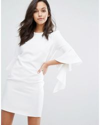 Miss Selfridge - White Flute Sleeve Shift Mini Dress - Lyst