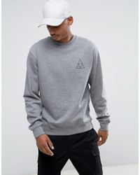 Huf Gray Triple Triangle Sweatshirt for men