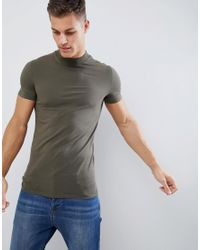 ASOS Muscle Fit T-shirt With Turtleneck In Green for men