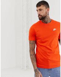 Nike – Club – Oranges T-Shirt mit Logo in Red für Herren