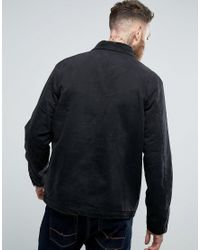 ASOS Asos Denim Worker Jacket With Stripe Lining And Cord Collar In Black for men