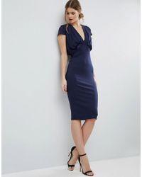 ASOS - Blue Crepe Fold Front T-shirt Midi Dress - Lyst