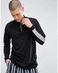 ASOS Black Asos Oversized Long Sleeve T-shirt With Honest Back Print & Neck Zip for men