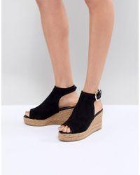River Island - Black Open Toe Espadrille Wedge Shoe Boots - Lyst