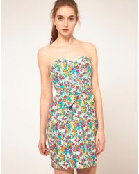 ASOS Multicolor Asos Strapless Dress In Floral Print