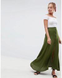 Jupe longue boutonnée sur le devant ASOS en coloris Green