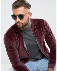 ASOS - Green Round Sunglasses In Matte Olive for Men - Lyst