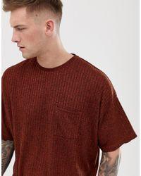 T-shirt oversize in tessuto a coste con tasca - di ASOS in Red da Uomo