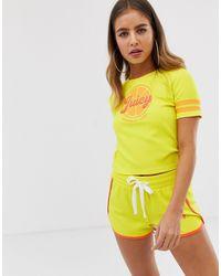 Juicy By Juicy - T-shirt corta con logo di Juicy Couture in Yellow