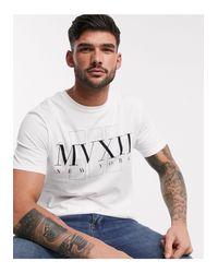 T-shirt imprimé devant River Island pour homme en coloris White