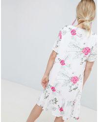 Pieces White Enna Ditsy Floral Print Drop Waist Dress