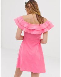 Vestido veraniego con escote Bardot y volante doble ASOS de color Pink