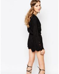 Stone Cold Fox Locals Black Lace Playsuit With Fluted Sleeves