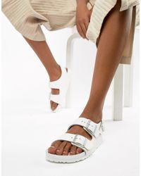 Birkenstock White – Milano – Flache Ledersandalen