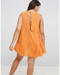 ASOS - Orange Beach Dress With Raw Edge Detail - Lyst