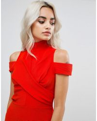 ASOS - Red Ribbed Cold Shoulder Bodycon Mini Dress - Lyst