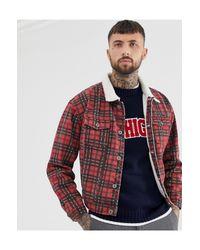 Liquor N Poker – Karierte Jeansjacke mit Kunstfell-Kragen in Red für Herren