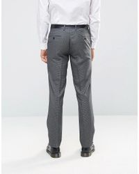 Farah Gray Skinny Dogtooth Suit Trousers for men
