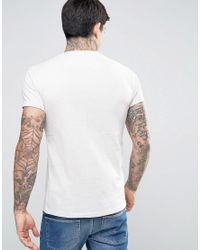 Farah Gray Twisted Yarn Marl T-shirt Exclusive In Off White for men