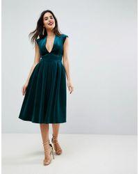 Lyst - ASOS Deep Plunge Bonded Velvet Prom Midi Dress in Green e54b0b317