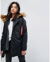 Alpha Industries Black Explorer Parka Coat With Faux Fur Hood