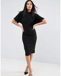 ASOS Black High Neck Open Back Wiggle Dress