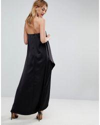 ASOS - Black Asos Bandeau Wrap Satin Midi Dress - Lyst