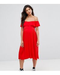 Bluebelle Maternity Red Striped Printed Bardot Dress