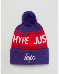 Hype - Blue Bobble Beanie In Purple With Logo for Men - Lyst