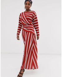 Vestido largo con detalle cruzado y rayas anchas ASOS de color Red