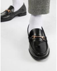 Ben Sherman Black High Shine Metal Bar Loafer for men