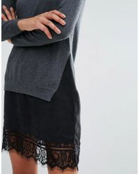 French Connection Black Melba Knits Sweater Dress With Lace Insert