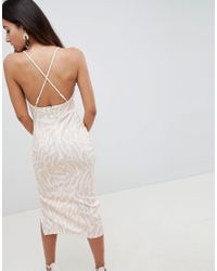 ASOS White Cut Out Midi Dress In Blurred Animal Print