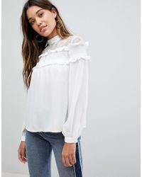Fashion Union - White High Neck Blouse With High Neck And Ruffle Detail - Lyst