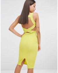 Missguided Green Ribbed Bodycon Back Detail Midi Dress
