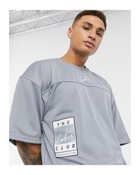 The Couture Club Gray Varsity Mesh T-shirt for men