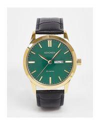 Часы С Зеленым Циферблатом И Черным Кожаным Ремешком -черный Sekonda для него, цвет: Black