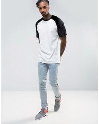 ASOS - White Oversized Raglan T-shirt With Embossed Floral Velvet Sleeves for Men - Lyst