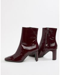 Bershka Red Patent Ankle Boot