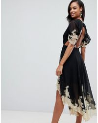 ASOS Black Soft Midi Dress With Lace Inserts