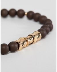 Icon Brand - Metallic Brown Beaded Bracelet With Antique Gold Finish for Men - Lyst