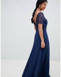 ASOS Blue Asos Design Petite Lace Insert Paneled Maxi Dress