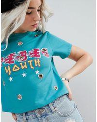 ASOS Green Rebel Youth Eyelet Detail T-shirt
