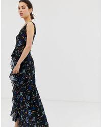 Little Mistress Black Floral Lace Plunge Front Maxi Dress