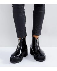 ASOS Black Rankin Wide Fit Zip Front Ankle Boots