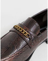 Mocasines de corte ancho de cuero sintético con efecto de serpiente de ASOS de hombre de color Brown
