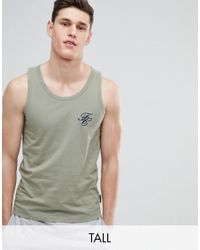 French Connection Green Tall Script Vest for men